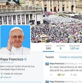Pontífice chega à marca dos 14 milhões de seguidores no Twitter