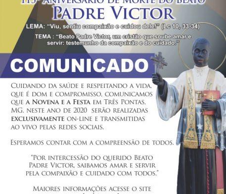 Comunicados da Festa e Novena Padre Victor 2020